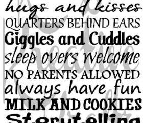 Grandparents House Rules vinyl decal